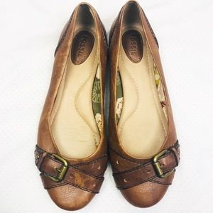 Fossil | Brown Leather Buckle Slip On Flats 7.5